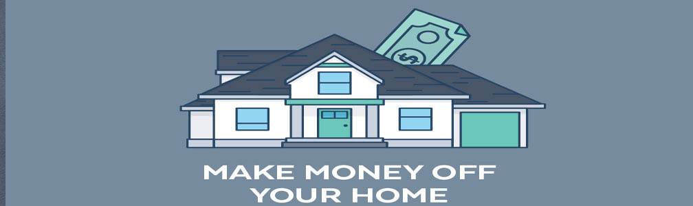 cartoon image of a house with money
