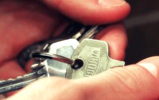 Keys in person's hands