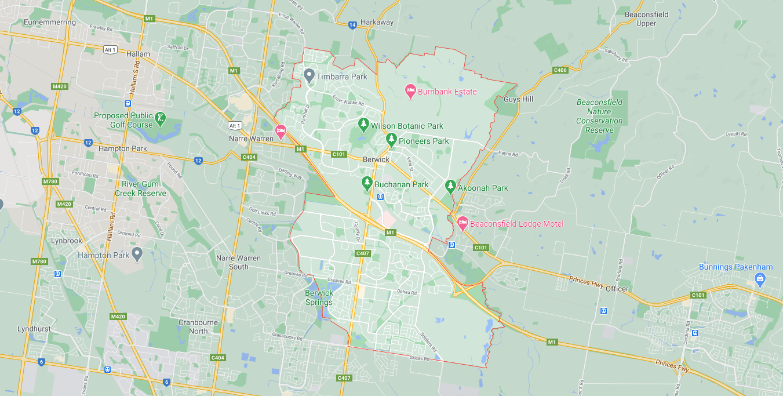 map of berwick victoria